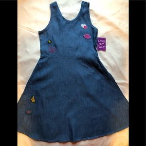 ❤️NEW Navy Embroidered Chambray Sundress- Girls